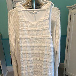 White lace patterned tank dress